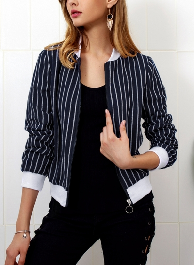 Navy Women's Casual Striped Long Sleeve Full Zip Slim Baseball Jacket