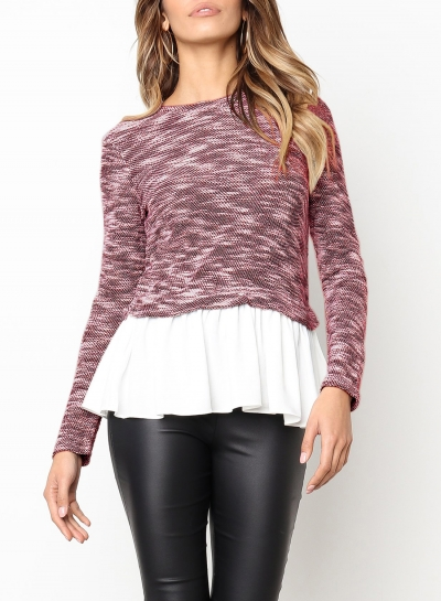 Pink Long Sleeve Contrast Colorblock Ruffle Hem Pullover Sweater