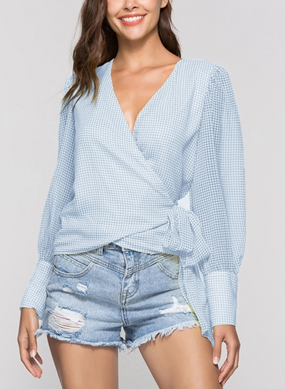 Blue Casual V Neck Long Sleeve Wrap Waist Tie Loose Plaid Blouse