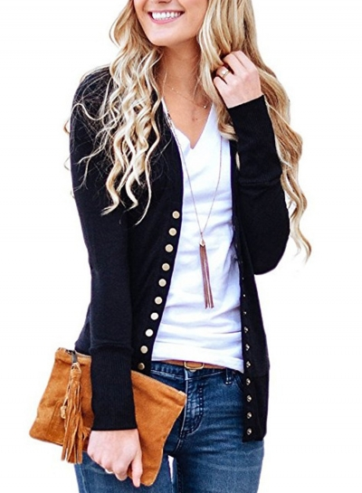 Black Open-front Sweater-blazer