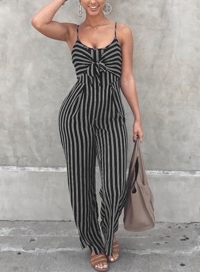 Summer Striped Spaghetti Strap Bowknot Backless Wide Leg Jumpsuit
