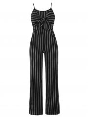 97efe8499f0e2e ... Summer Striped Spaghetti Strap Bowknot Backless Wide Leg Jumpsuit ...