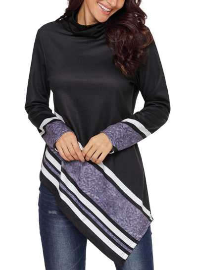 Black Striped High Neck Long Sleeve Irregular Loose Sweatshirt
