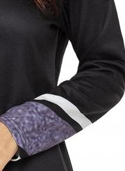 Black Striped High Neck Long Sleeve Irregular Loose Sweatshirt