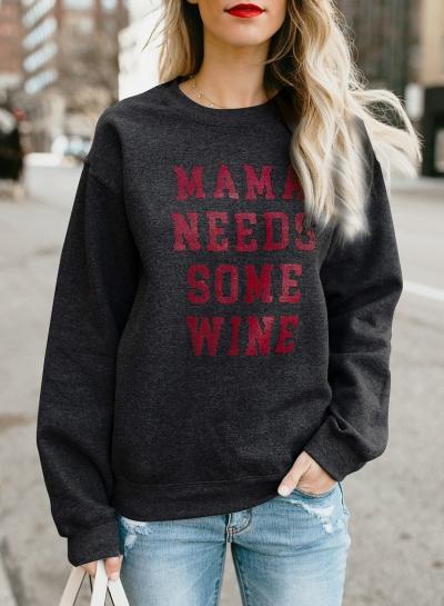Black Letters Print Round Neck Long Sleeve Loose Pullover Sweatshirt STYLESIMO.com