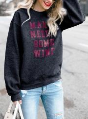 Black Letters Print Round Neck Long Sleeve Loose Pullover Sweatshirt