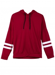 Burgundy Casual Striped Long Sleeve Loose Boyfriend Pullover Hoodie