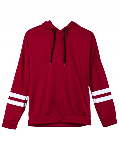 Burgundy Casual Striped Long Sleeve Loose Boyfriend Pullover Hoodie STYLESIMO.com