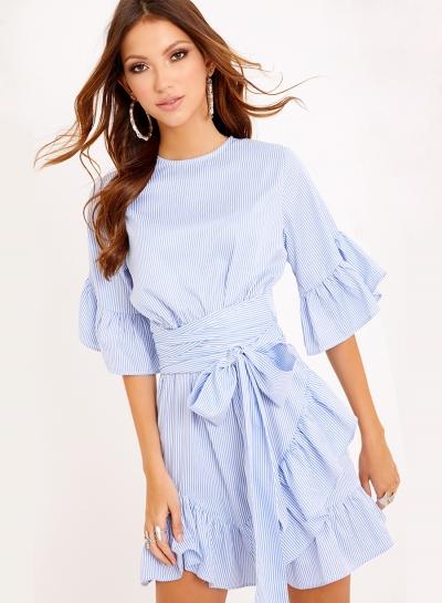 Casual Round Neck Flare Sleeve Waist Tie Ruffle Hem Irregular Dress