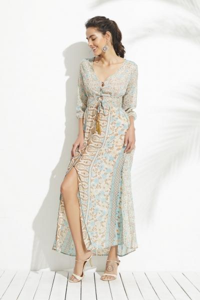 Vintage Printing Elastic Waist Slit Dress STYLESIMO.com