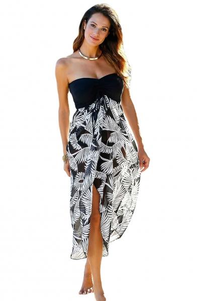 Black White Printed Beach Dress