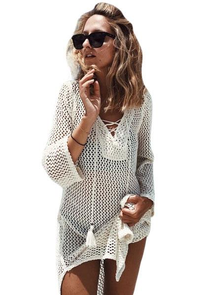 White Lace-up Neck Long Fishnet Beachwear Dress