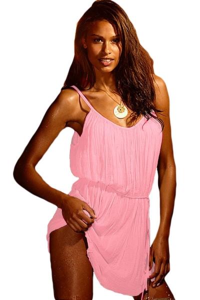 Pink Vintage Crinkled Beach Sundress
