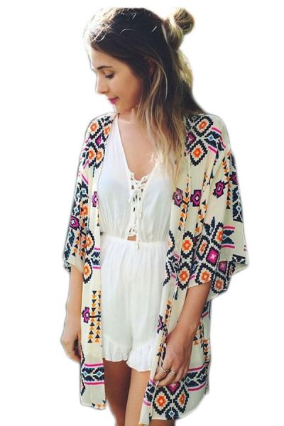 Trendy Geometry Print Beach Kimono