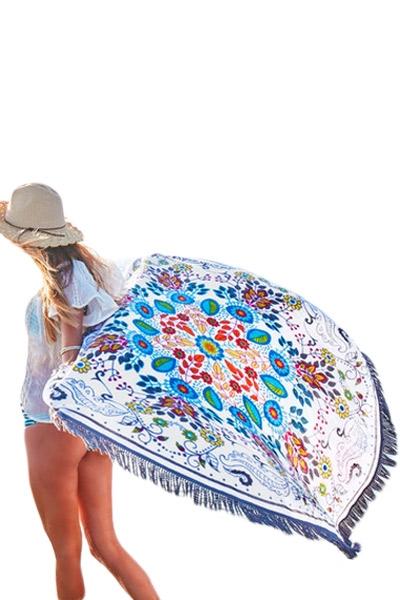 Wildflower Round Towel Beach Picnic Blanket