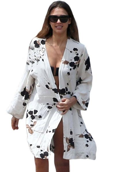 Ink Flower White Cotton Beach Kimono