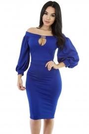 Blue Puffs Peep Hole Off Shoulder Midi Bodycon Dress