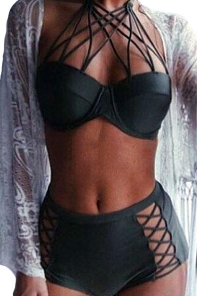 Black Strappy Push-up High Waist Bikini Swimsuit