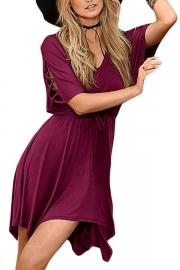 Burgundy Lace Up Half Sleeves Irregular Skater Dress