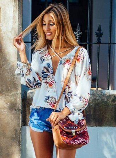 Floral V Neck Long Sleeve Chiffon Blouse