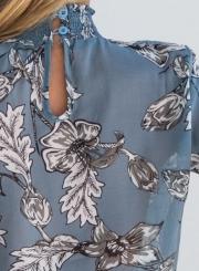Women's Fashion High Neck Long Sleeve Floral Chiffon Blouse