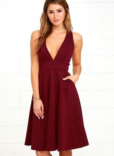 Women's Fashion A-Line Deep V Neck Pockets Sleeveless Dress
