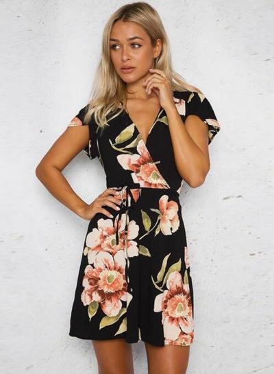 Women's Fashion V Neck Short Sleeve Floral Print Mini Dress