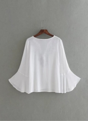 Women's V Neck Embroidery Flare Sleeve Blouse