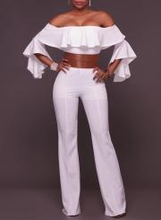 Women's Fashion off Shoulder Ruffle Flare Sleeve Wide-Leg Jumpsuit with Belt