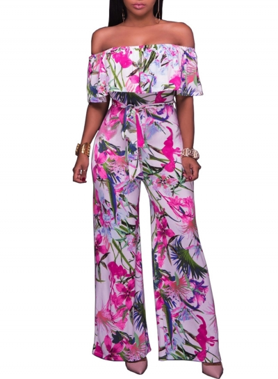 Women's Fashion off Shoulder Ruffle Floral Wide Leg Jumpsuit
