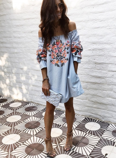 Women's Fashion Floral Prined off Shoulder Long Sleeve Mini Dress