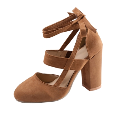 Women's Solid Round Toe Lace up Block Heels Pumps
