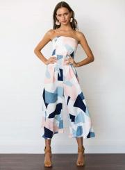 Women's Geometric Pattern Print Strapless Sleeveless Jumpsuit