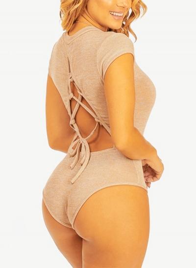 Women's Fashion Short Sleeve Back Lace-up One Piece Bodysuit