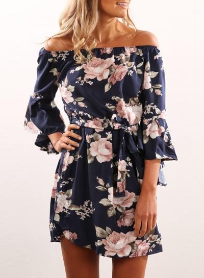 Women's Fashion off Shoulder 3/4 Sleeve Floral Print Mini Dress