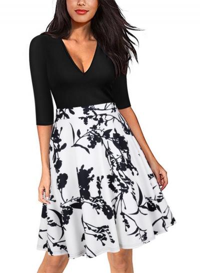 Women's V Neck Half Sleeve Print Dress