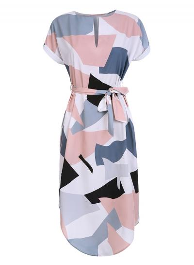Women's V Neck Short Sleeve Square Print Midi Dress