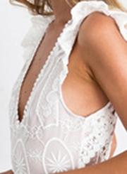 Women's V Neck High Waist Lace Maxi Dress
