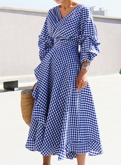 Women's Casual V Neck Lantern Sleeve Plaid Miid Irregular Dress