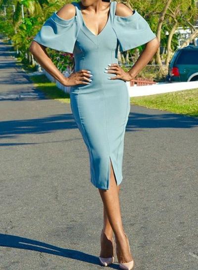 Women's Solid V Neck off Shoulder Short Sleeve Bodycon Slit Dress