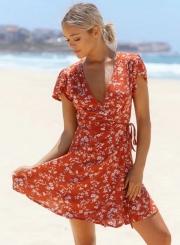 Women's Floral Print V Neck High Waist Chiffon A-line Dress
