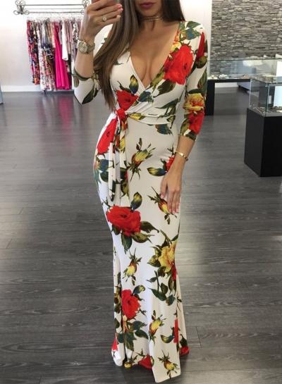 Women's Fashion Floral Deep V Long Sleeve Maxi Boho Dress