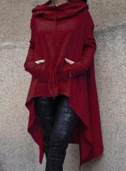 Women's Fashion Solid Long Sleeve Loose Irregular Hoodie