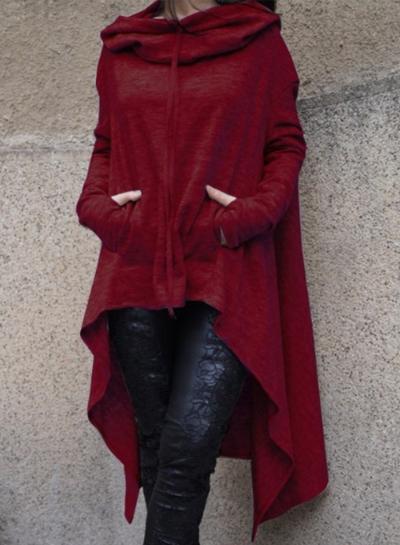 Women's Fashion Solid Long Sleeve Loose Irregular Hoodie STYLESIMO.com
