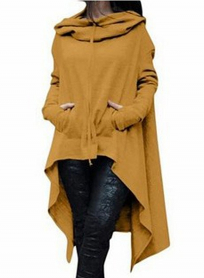 Women's Fashion Solid Long Sleeve Loose Irregular Hoodie STYLESIMO.com