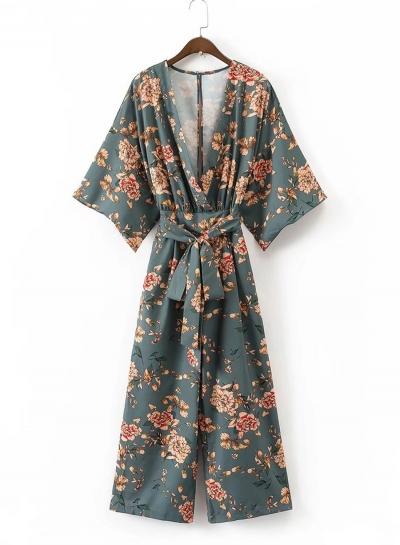 Women's Japan Style V Neck Print Jumpsuit with Belt