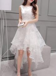 Women's Elegant Solid Sleeveless High Low Organza Dress