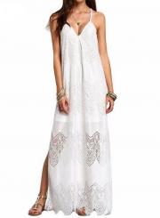 Women's Spaghetti Strap V Neck Sleeveless Lace Maxi Beach Dress
