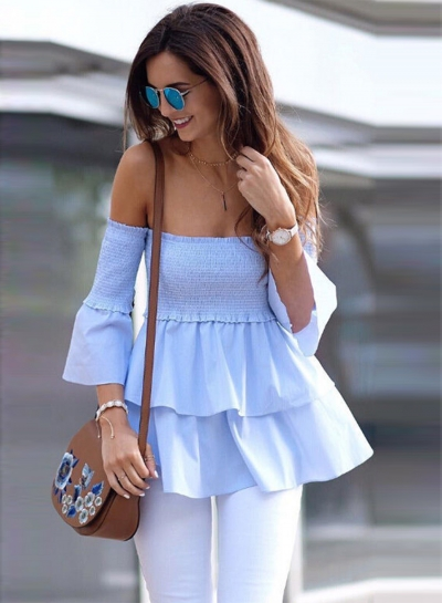 Women's Fashion Solid off Shoulder Flare Sleeve Ruffle Blouse STYLESIMO.com