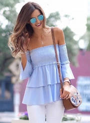 Women's Fashion Solid off Shoulder Flare Sleeve Ruffle Blouse